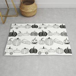 Pumpkin Ink Pattern Black and White Rug