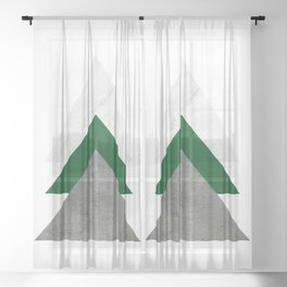 Marble Green Concrete Arrows Collage Sheer Curtain