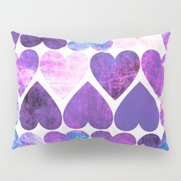 Mod Purple & Blue Grungy Hearts Design Pillow Sham