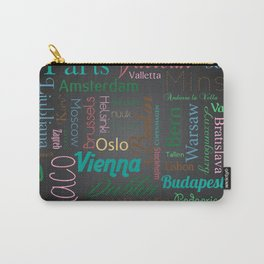 European capitals on black Carry-All Pouch