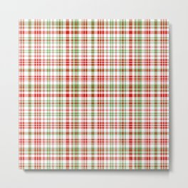 Plaid fall colors winter red and green natural plaids pattern Metal Print