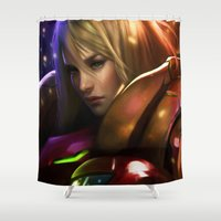 samus Shower Curtains featuring Samus by KlsteeleArt