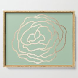 Rose White Gold Sands on Pastel Cactus Green Serving Tray