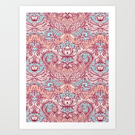 Natural Rhythm - a hand drawn pattern in peach, mint & aqua Art Print
