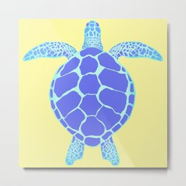 Beach Yellow Turtle Metal Print