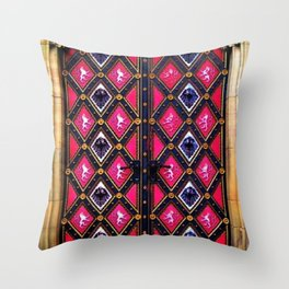 Multi-Colored Antique Pink and Purple Spanish Doorway Throw Pillow