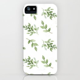 Forest green white hand painted botanical foliage iPhone Case