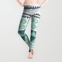 jordan Leggings featuring Winter Stripe by Alice Rebecca Potter