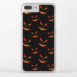 Sparkly Jack O'Lantern face Halloween pattern Clear iPhone Case