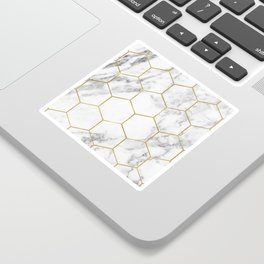 Gold marble hexagon pattern Sticker