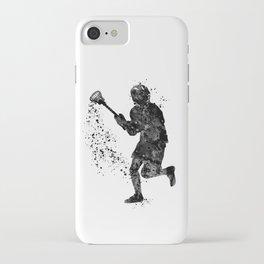 Boy Lacrosse Black Watercolor Sports Art iPhone Case