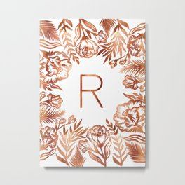 Letter R - Faux Rose Gold Glitter Flowers Metal Print