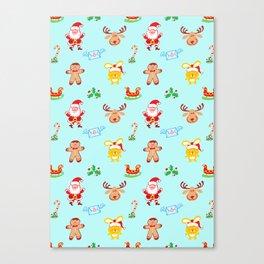 Cute Santa Claus, reindeer, bunny and cookie man Christmas pattern Canvas Print