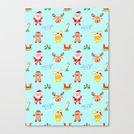 Cute Santa Claus, reindeer, bunny and cookie man Christmas pattern Canvas Print
