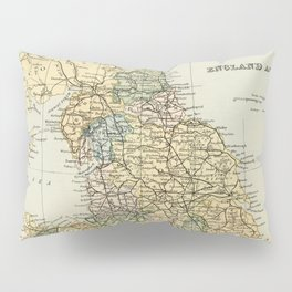 North England and Wales Vintage Map Pillow Sham