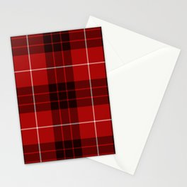 Dark Red Tartan with Black and White Stripes Stationery Cards