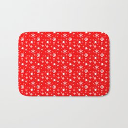 Aurora Red and White Winter 2016 Snowflakes Pattern Bath Mat