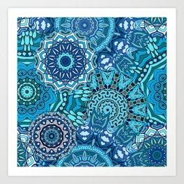 Blue Boho Mandela Pattern 5 Art Print