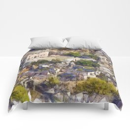 Rock Village of Kayakoy AKA Levissi Pencil Sketch Comforters