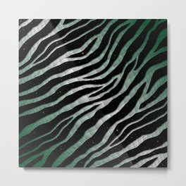 Ripped SpaceTime Stripes - Forest/White Metal Print