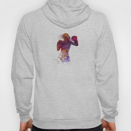Woman boxer boxing kichbosing silhouette isolated 02 Hoody