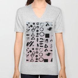 Blush pink gray black paint brushstrokes shapes gradient Unisex V-Neck