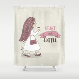 Start with Coffee Shower Curtain