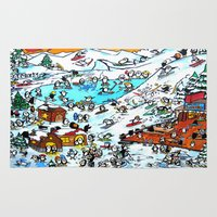 ski Area & Throw Rugs featuring Penguin Ski by Phil Fung