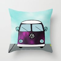 hippie Throw Pillows featuring Hippie Van  by The Bohemian Bubble