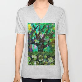 Magic forest, acrylic monotype Unisex V-Neck