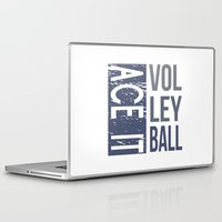 volleyball Laptop & iPad Skins featuring Ace It Volleyball (blue) by raineon