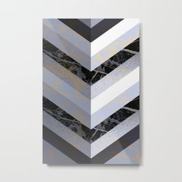 Chevron Pattern 2. Blue, Marble and Glitter #decor #buyart Metal Print