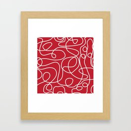 Doodle Line Art | White Lines on Dark Red Framed Art Print
