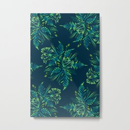 Ferns and Parrot Tulips - Green Metal Print