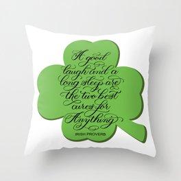 St. Patrick's Day Shamrock Irish Proverb Throw Pillow
