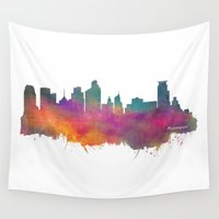 minneapolis Wall Tapestries featuring Minneapolis Skyline  by jbjart