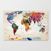 graffiti Canvas Prints featuring map by mark ashkenazi