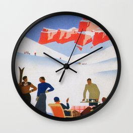 Dolomites Italy Vintage Ski Poster Wall Clock
