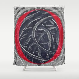 Junction- red graphic Shower Curtain