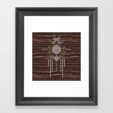 Triple Goddess - Flower of Life - Moon Phase - Shaman - Tribal - Sri Yantra - Brown Marble - Wood - Framed Art Print
