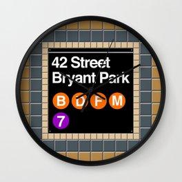 subway bryant park sign Wall Clock