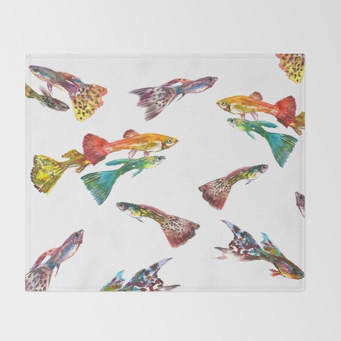 Tropical Colors, Guppy Aquarium Fish , Aquarium Art Underwater Throw Blanket