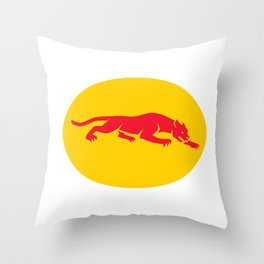 Panther Crouching Oval Retro Throw Pillow
