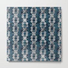 Boho Flower Stripe Jade Metal Print