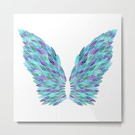 Turquoise Angel Wings Metal Print