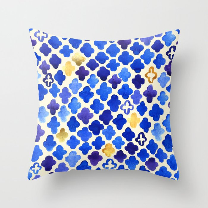 Rustic Watercolor Moroccan In Royal Blue Amp Gold Throw
