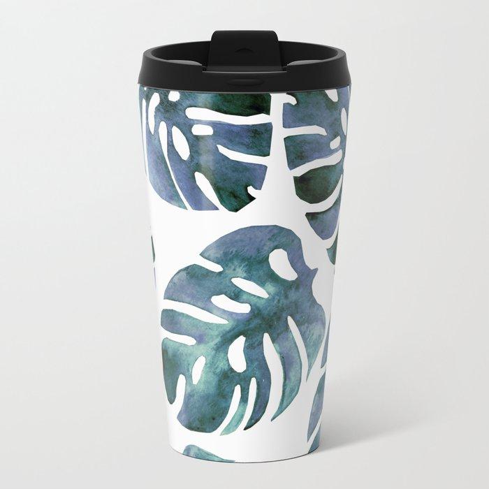 Monstera Blue Metal Travel Mug