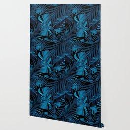 Tropical Jungle Night Leaves Pattern #2 #tropical #decor #art #society6 Wallpaper
