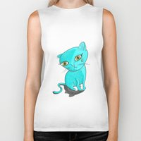 tiffany Biker Tanks featuring Tiffany Kitty by Heidi Bada