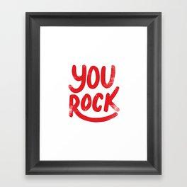 You Rock Vintage Red Framed Art Print